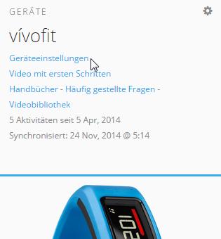 Garmin Vivofit - Garmin Connect Geräteeinstellungen 1
