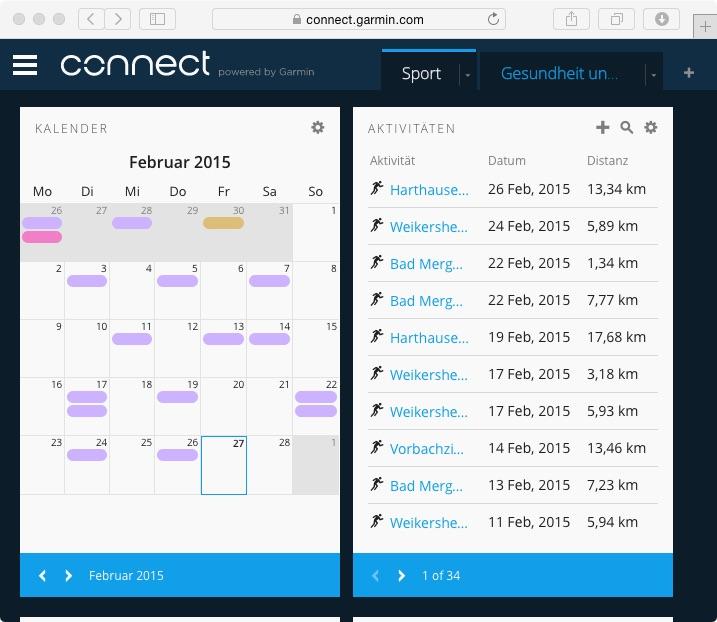 Garmin Connect Aktivitäten im Browser