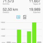 Garmin Connect App - Schritte Wochenübersicht