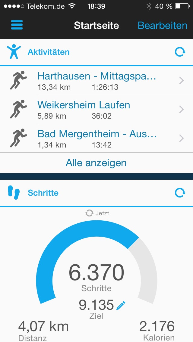 Garmin Connect App - Aktivitäten