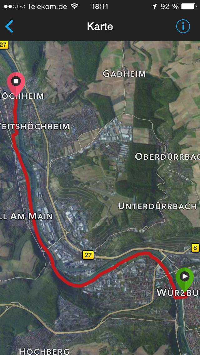 Die Strecke von Würzburg nach Margetshöchheim