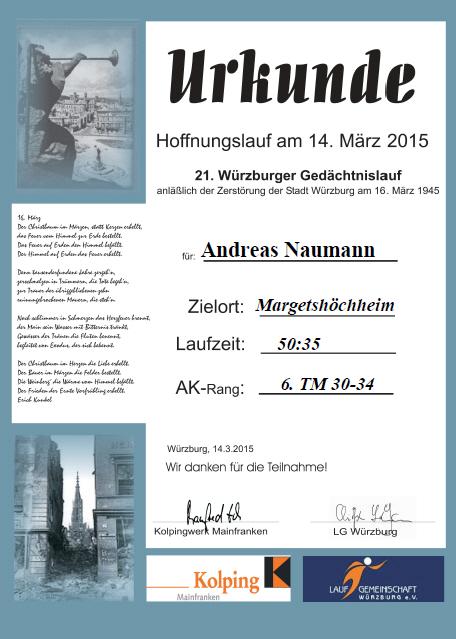 Gedächtnislauf 2015 Urkunde