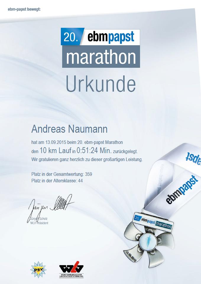 ebmpapst marathon | 10K Uhrkunde